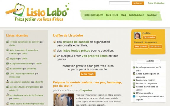 La page d'accueil de ListoLabo