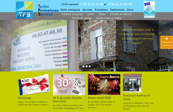 Haut de la page d'accueil de TFS