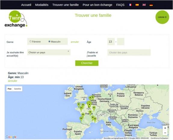 Le moteur de recherche et la carte de Twin Exchange